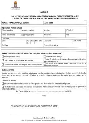 Anexo I Modelo de solicitud Plaza trabajador social