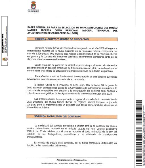 Bases Generales para la selección de un/a Director/a del museo Natura Ibérica como personal Laboral temporal del Ayuntamiento de Carracedelo